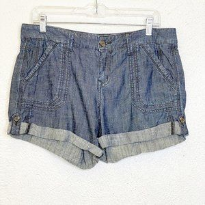 Anthropologie Level 99 Chambray Tab Cuff Shorts 29
